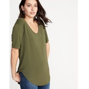 Old Navy Luxe Olive Green Curve-Hem Tunic